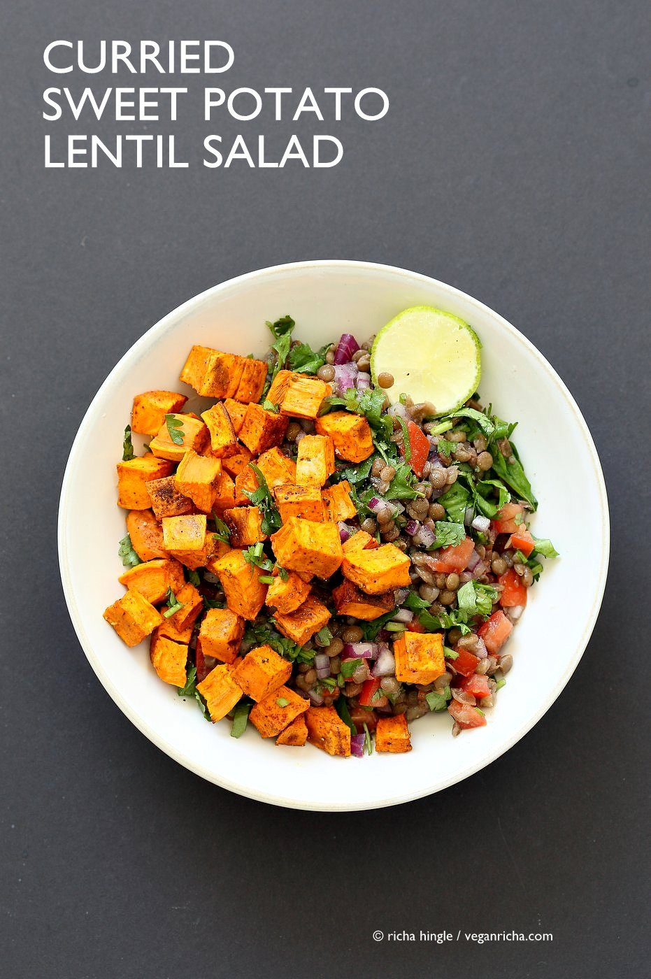 Curried Sweet Potato Lentil Salad. Simple Indian spices, roasted sweet potato, earthy lentils, lime juice and a refreshing lunch bowl. Vegan Gluten-free Soy-free Nut-free Recipe. Can be made oil-free. | VeganRicha.com