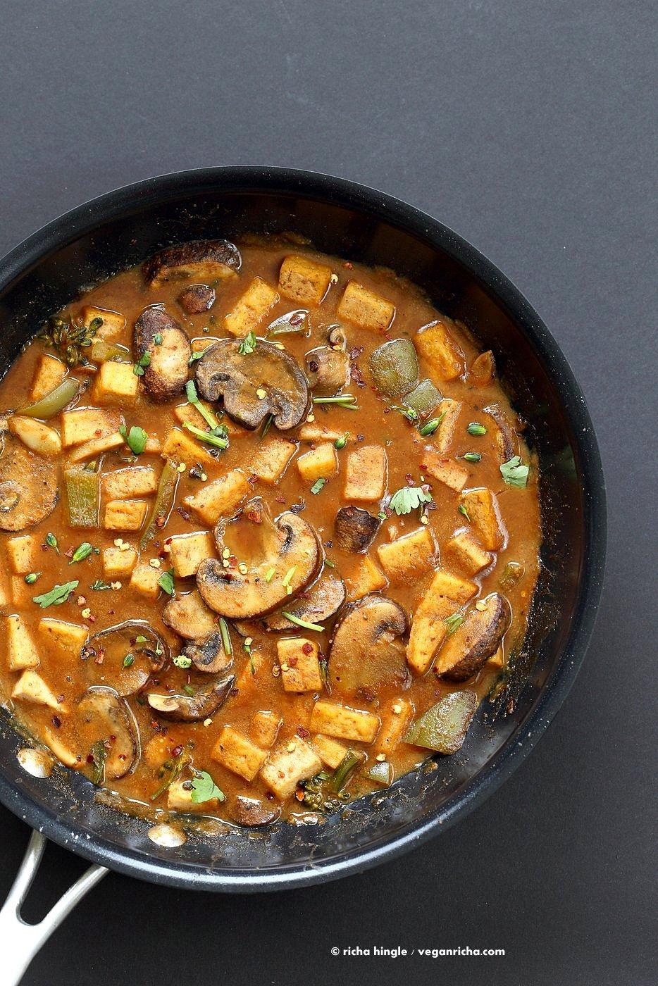 Hoisin Tofu Mushroom Stir Fry with homemade Hoisin Sauce. Easy Weeknight Meal with crisped Tofu, golden mushrooms, broccoli, peppers in from scratch Hoisin sauce. Serve over cooked grains. Vegan Gluten-free Recipe.   VeganRicha.com
