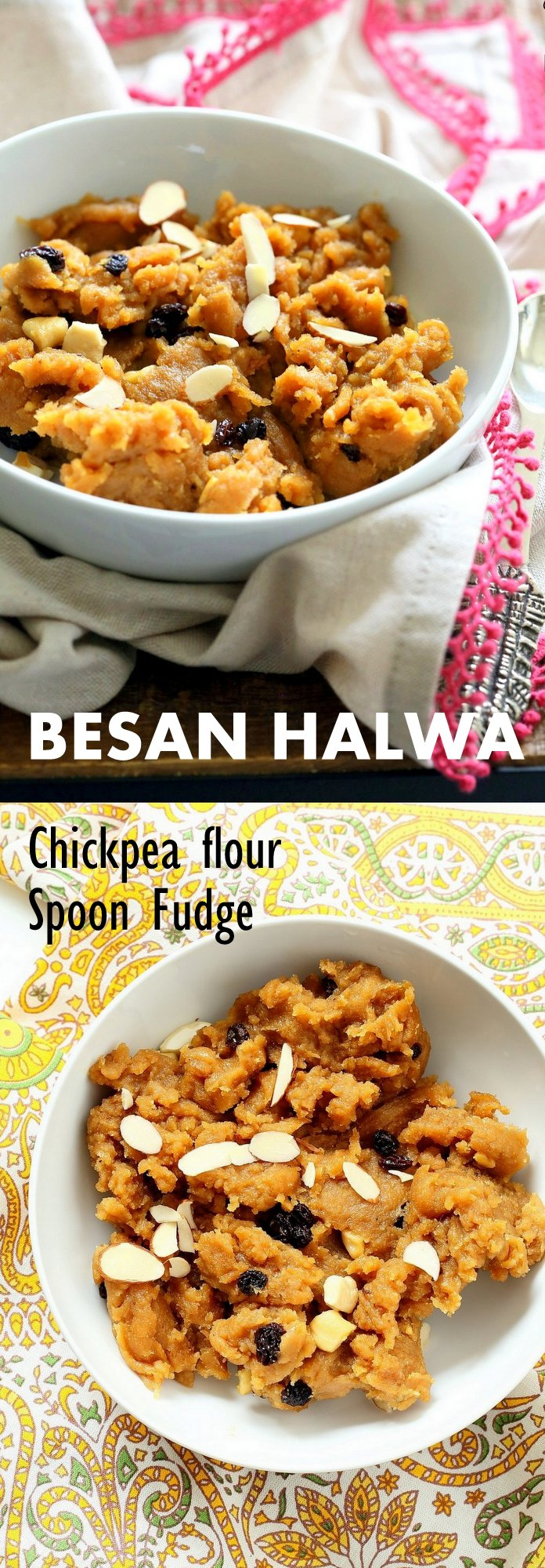 Besan Halwa is a fudgy dessert made with chickpea flour or besan. Chickpea flour Spoon fudge with cardamom and nuts. Use other grain or bean or lentil flours for variation. 6 Ingredients, 15 Mins. Vegan Gluten-free Grain-free Dessert Recipe. | VeganRicha.com
