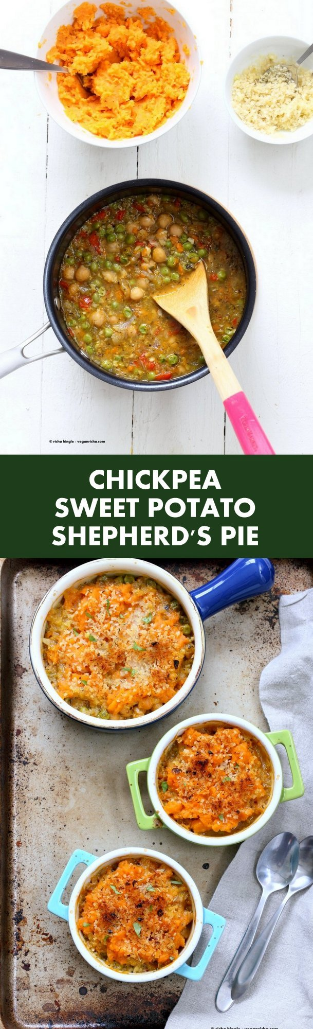 Vegan Shepherds Pie with Chickpeas and Sweet Potato mash. Crusted with breadcrumbs, garlic and herbs. 1 hour easy Vegetarian Shepherds Pie. Vegan Nut-free Soy-free Recipe. Can be gluten-free | VeganRicha.com