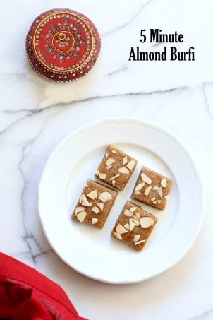 Badam Burfi - 5 min Almond fudge with Cardamom and Vegan Basundi - thickened milk with saffron and nuts. Basundi or Rabri with almond milk. Indian Vegan Sweets for Diwali. Vegan Dairy-free Gluten-free Soy-free Recipe. | VeganRicha.com #glutenfree #veganricha #vegan