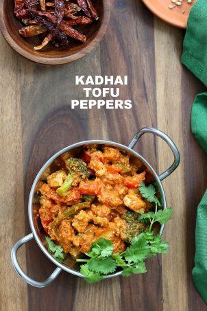 "Kadai ""Paneer"" Tofu & Peppers. Kadhai Tofu in spiced tomato sauce. Shimla Mirch/ Capsicum, Broccoli and Crisped Hemp Tofu in an easy blender tomato almond sauce makes a great entree for Diwali. Vegan Gluten-free Soy-free Cashew-free Recipe. | VeganRicha.com #glutenfree #veganricha #vegan"