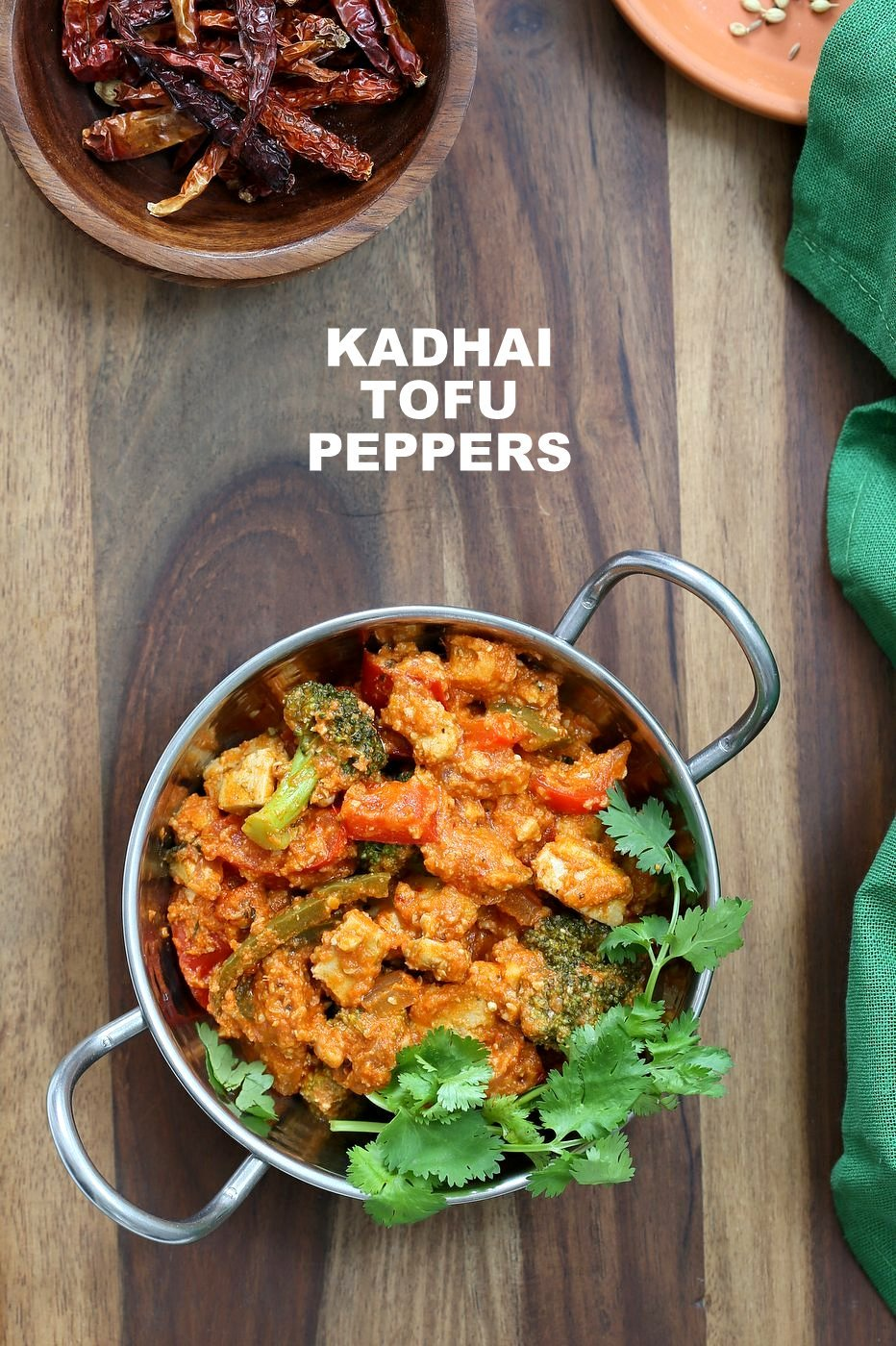 Kadai Paneer Tofu & Peppers. Kadhai Tofu in spiced tomato sauce. Shimla Mirch/ Capsicum, Broccoli and Crisped Hemp Tofu in an easy blender tomato almond sauce makes a great entree for Diwali. Vegan Gluten-free Soy-free Cashew-free Recipe. | VeganRicha.com