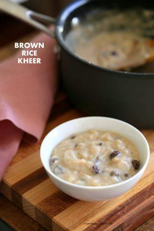 Brown Rice Kheer Recipe. Vegan Rice Pudding