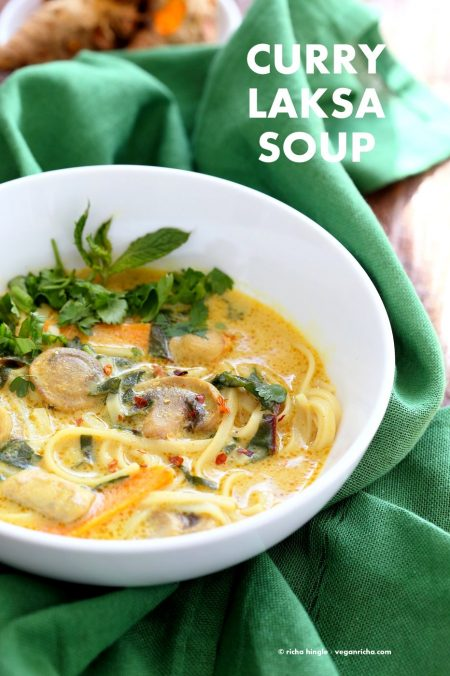 Vegan Laksa - Malaysian Curry Laksa Soup Recipe with homemade Laksa paste. Warming, spicy, flavorful soup for fall and winter. Vegan Gluten-free Soy-free Recipe | VeganRicha.com #glutenfree #veganricha #vegan