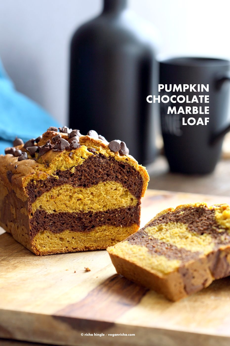 Marbled Turmeric Pumpkin Chocolate Bread Vegan Richa