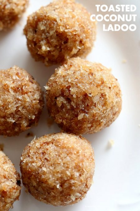 Toasted Coconut Balls - Toasted Coconut Cardamom Ladoo. Soft balls of coconut, coconut milk, cardamom and coconut sugar to celebrate Indian festivals. Use other flavors of choice. | VeganRicha.com