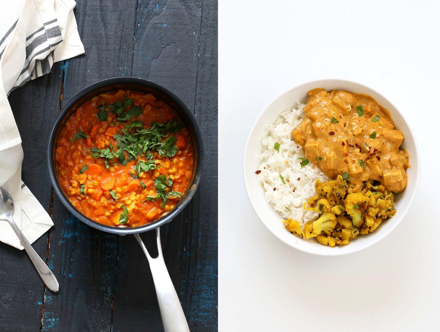 Spli Pea Soup and Masala Tofu Bowl | VeganRicha.com