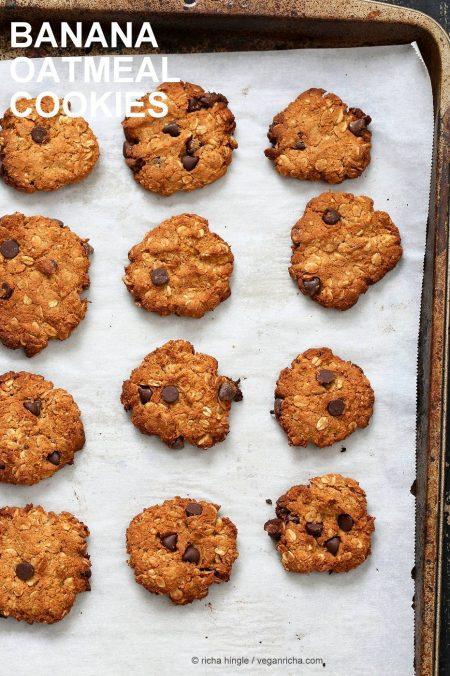 Banana Oatmeal Cookies #glutenfree #veganricha #vegan