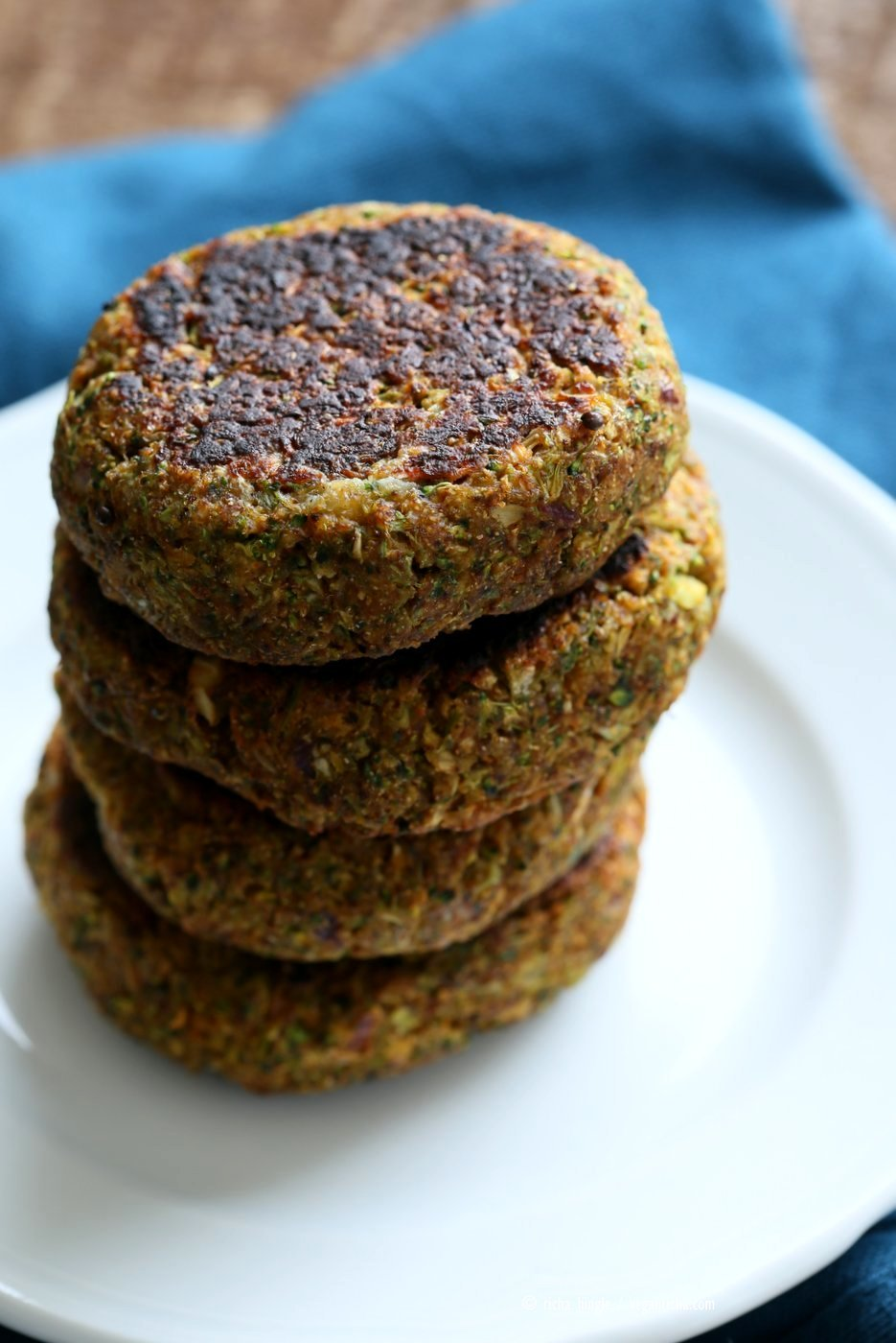 Smoky Spicy Broccoli Fritters with Chickpea flour and spices. Quick and Easy Snack or breakfast. Vegan Gluten-free Nut-free Soy-free Recipe | VeganRicha.com