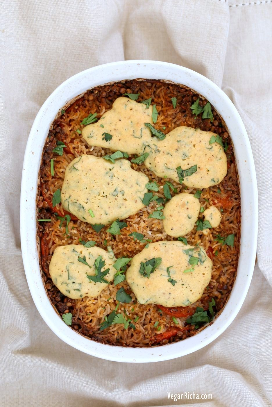 Lentil Rice Casserole with Indian spices baked with chickpea flour dumplings. Use veggies and lentils of choice. Vegan Gluten-free Soy-free Recipe. | VeganRicha.com