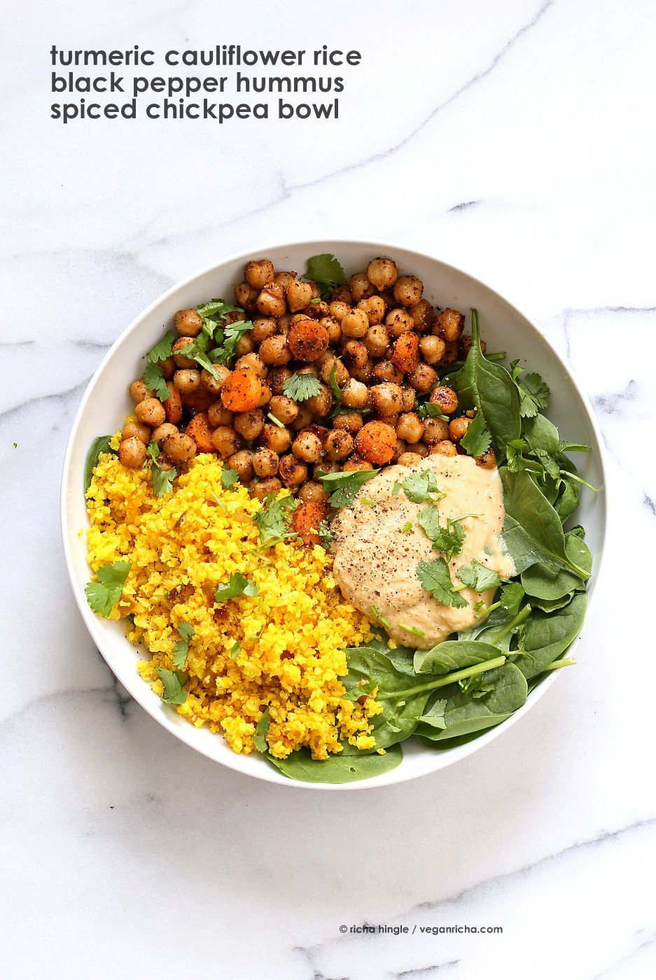 Spiced Chickpeas Turmeric Cauliflower Rice Buddha Bowl with Black Pepper Hummus. Amazing Flavors for any meal. Ready within 25 minutes. Vegan Gluten-free Soy-free Recipe | VeganRicha.com
