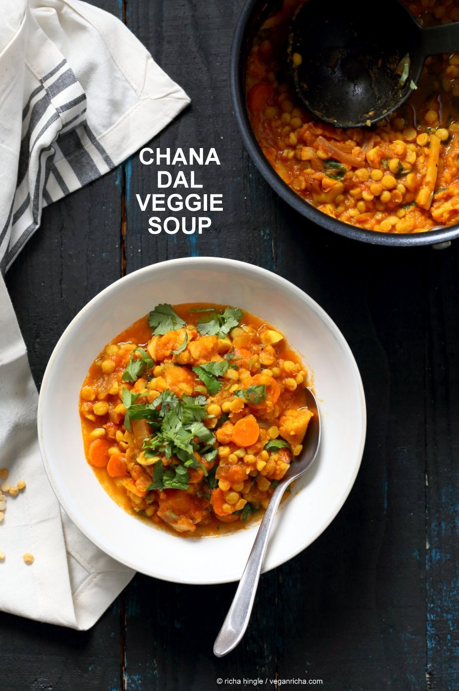 Chana Dal Veggie Soup. Easy Split Pea Soup with turmeric, spices, carrots, cauliflower, butternut squash. 1 Pot, ready within 45 minutes. Use split chickpeas (Chana Dal) or other split peas or lentils. Vegan Gluten-free Soy-free Recipe | VeganRicha.com