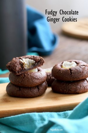 Fudgy Chocolate Cookies with Candied Ginger. Flourless Dark Chocolate Ginger Cookies. Vegan Gluten-free Paleo Refined oil-free Cookie Recipe | VeganRicha.com #glutenfree #veganricha #vegan