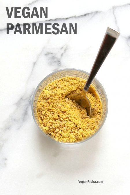 How to make Vegan Parmesan Cheese. Use Cashews, Pecans or Pepitas to make Dairy-free Parmesan cheese. Nut-free Vegan Parmesan Recipe. | VeganRicha.com #vegan #glutenfree #veganricha