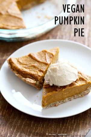 Easy Vegan Pumpkin Pie with a few ingredients and a rustic crust. Can be made gluten-free. Serve with whipped coconut cream or vanilla ice cream. | VeganRicha,com #glutenfree #veganricha #vegan