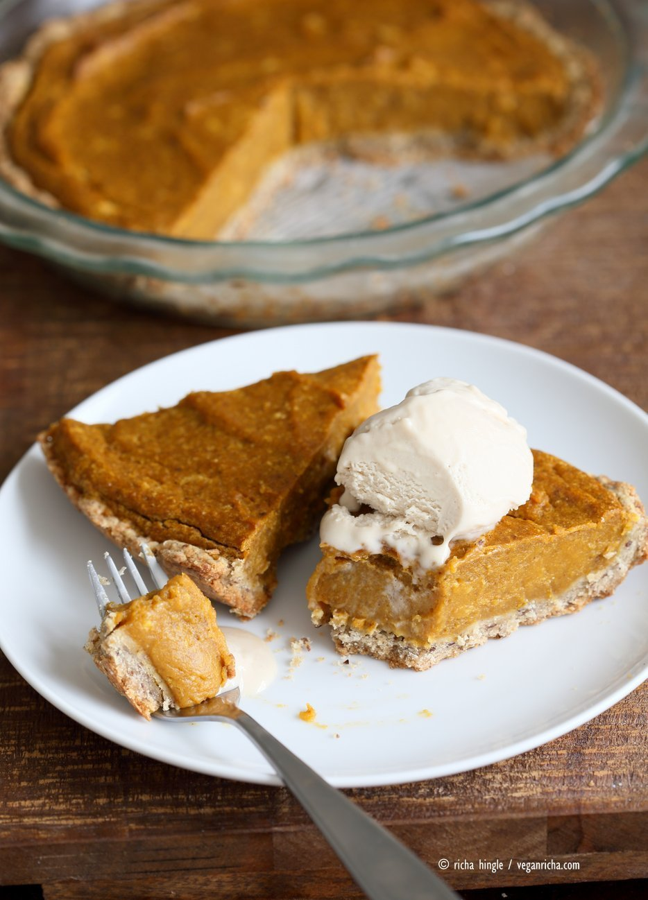 Easy Vegan Pumpkin Pie with a few ingredients and a rustic crust. Can be made gluten-free. Serve with whipped coconut cream or vanilla ice cream. | VeganRicha,com