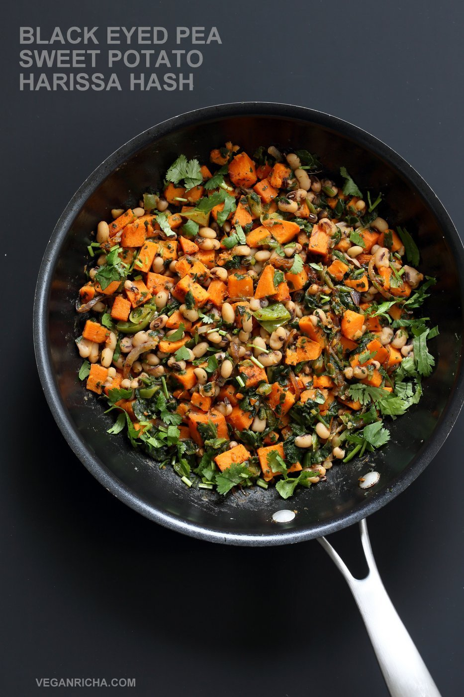 Bring in the new year with this plentiful Black eyed pea and Sweet Potato Hash with Harissa Spice. Ready in 20 minutes. 1 Pot. Serve over toast with a creamy dressing or avocado. #Vegan #Glutenfree #Soyfree #Recipe #veganricha | VeganRicha.com