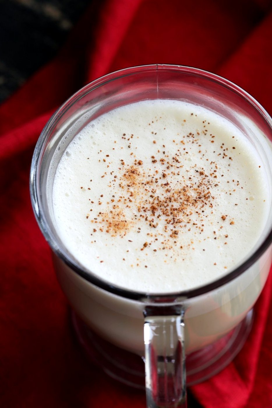 Easy Vegan Eggnog with eggy chickpea flour custard , almond milk, nutmeg, cloves and cinnamon. Make Golden Eggnog with Turmeric or add Cardamom for Chai spice. | VeganRicha.com