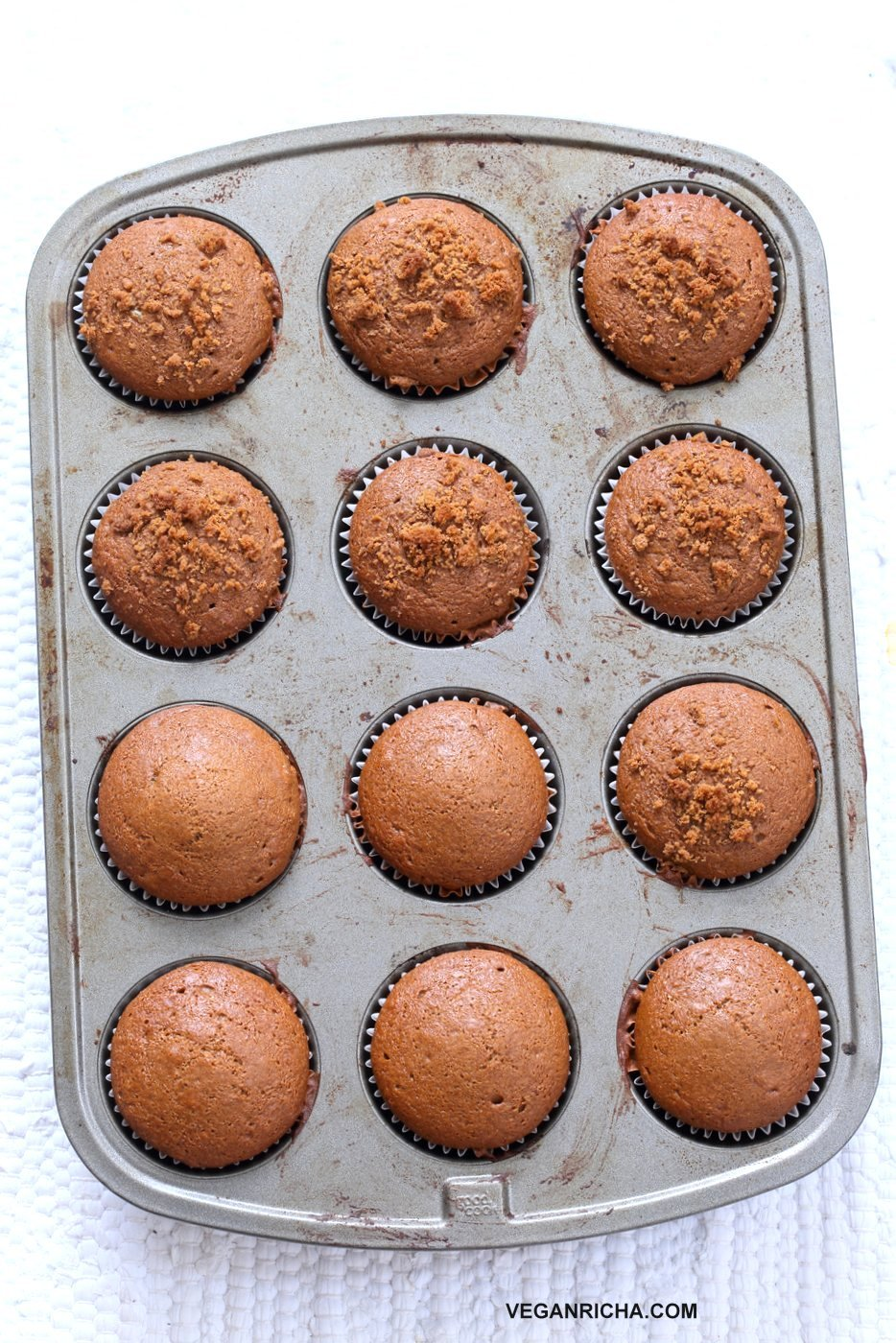Soft Moist Triple Ginger Gingerbread Muffins with candied, fresh and ground ginger and gingerbread spices. This muffin batter can be made in a blender! #Vegan #Nutfree #Soyfree #Recipe #veganricha | VeganRicha.com