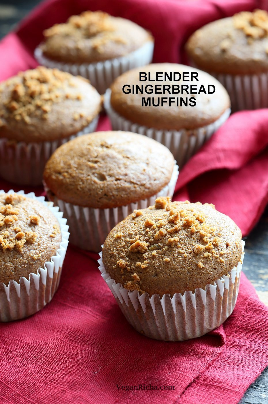 Soft Moist Triple Ginger Vegan Gingerbread Muffins with candied, fresh and ground ginger and gingerbread spices. This muffin batter can be made in a blender! #Vegan #Nutfree #Soyfree #Recipe #veganricha | VeganRicha.com