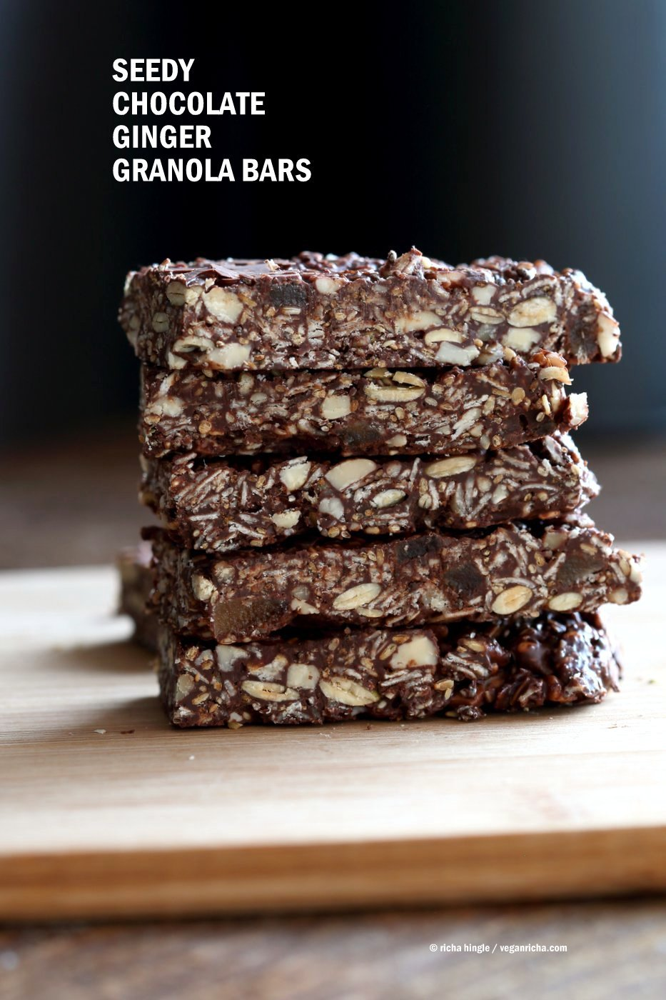 Seedy Chocolate No Bake Granola Bars with candied ginger and gingerbread spices. These bars filled will nuts and seeds make a tasty snack. substitute nuts with more seeds to make them nut-free. Vegan Gluten-free Recipe | VeganRicha.com
