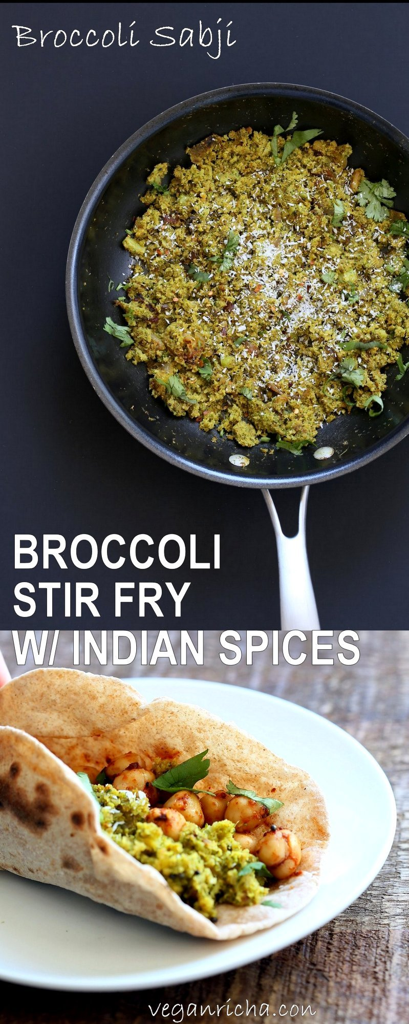 Broccoli Stir fry with Indian Spices - Broccoli Sabji with mustard seeds, coriander, fenugreek, turmeric and cinnamon. 1 pot, 20 mins.Vegan Gluten-free Soy-free Broccoli Recipe. Serve as a side, or with dal, or fill up a taco or wrap.