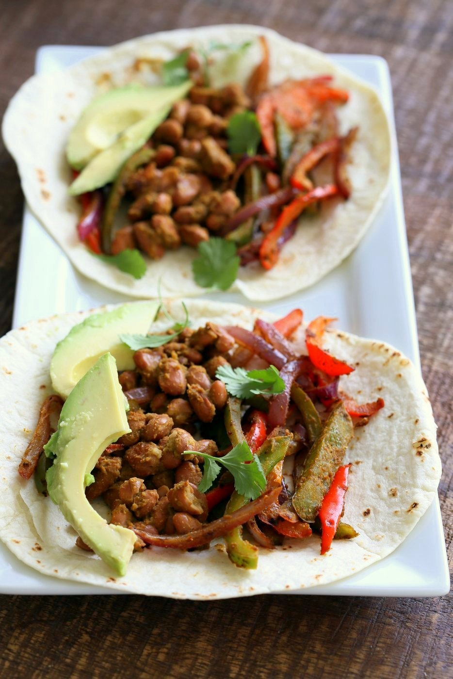 Easy Vegan Fajitas. Veggie Pinto Bean Fajita Tacos with Cilantro Chile Marinade. Amazing Fajita Marinade for veggies and Beans. Vegan Gluten-free Soy-free Vegetarian Fajita Recipe | VeganRicha.com