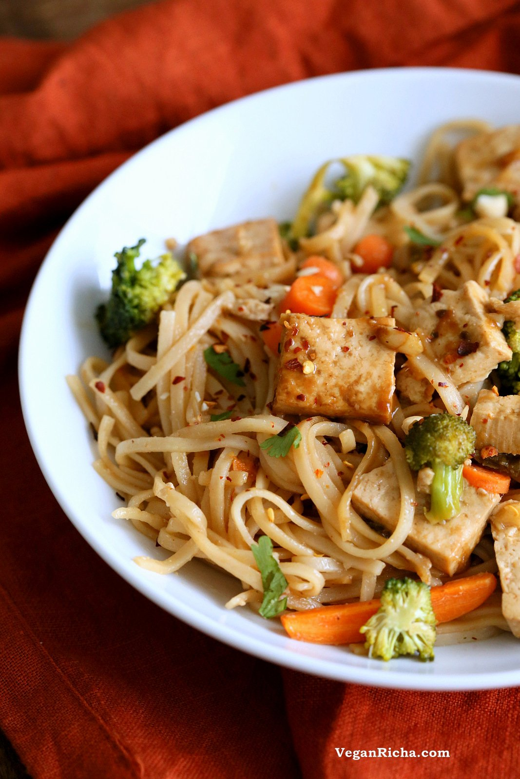 Tofu and Brown Rice Noodles in Hoisin Sauce. Vegan Hoisin Sauce Noodle Stir fry. Use more veggies to make tofu-free. Vegan Gluten-free Recipe | VeganRicha.com
