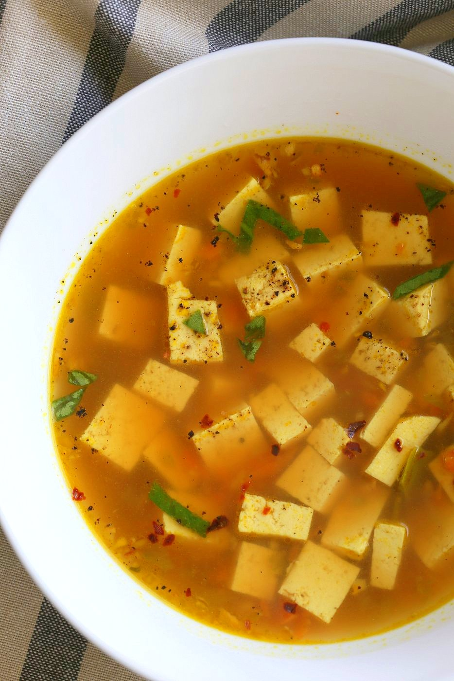 Turmeric Miso Soup With Ginger, Garlic and Tofu. Kick that cold with this soothing, anti inflammatory, brothy soup. Vegan Gluten-free Nut-free #vegan #Recipe #veganricha | VeganRicha.com