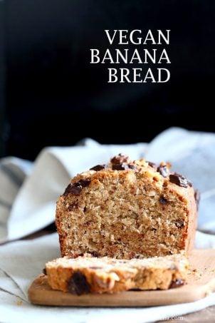 Vegan Banana Bread with Walnuts. Classic super moist Banana bread with toasted nuts and coconut. No Palm oil. #Vegan #Recipe #veganricha | VeganRicha.com.