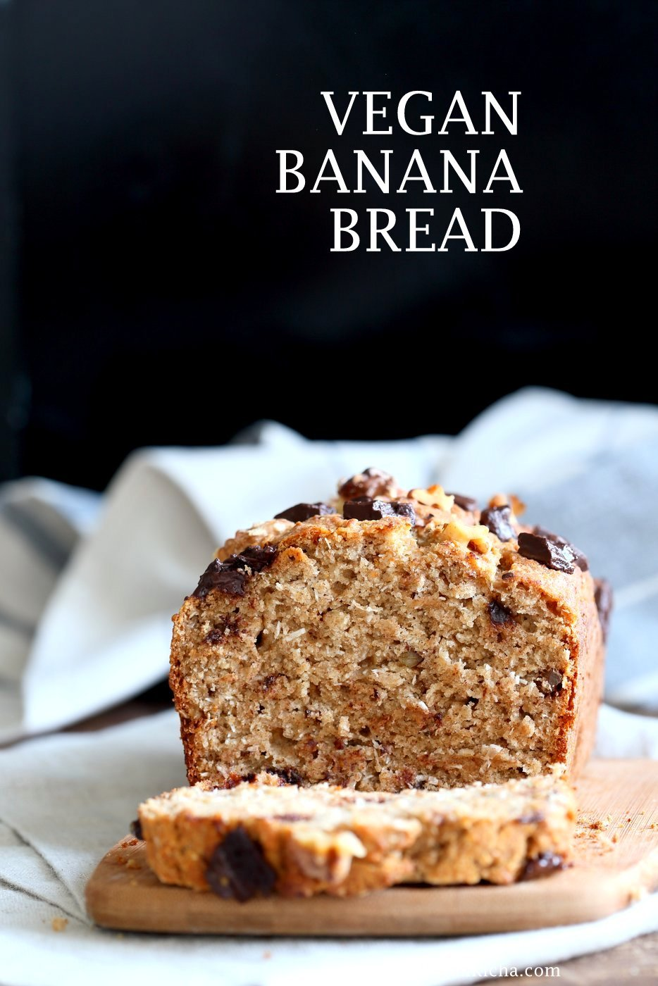 Vegan Banana Bread with Walnuts. Classic super moist Banana bread with toasted nuts and coconut. No Palm oil. 1 Bowl #Vegan #Recipe #veganricha | VeganRicha.com.