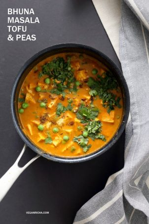 Tofu Matar Masala - Tofu Peas in Blender Masala Sauce. Curried Tofu and peas with a roasted cumin tempering. Vegan Matar Paneer. Gluten-free Recipe. Use chickpeas or veggies to make soy-free #vegan #veganricha #recipe | VeganRicha.com