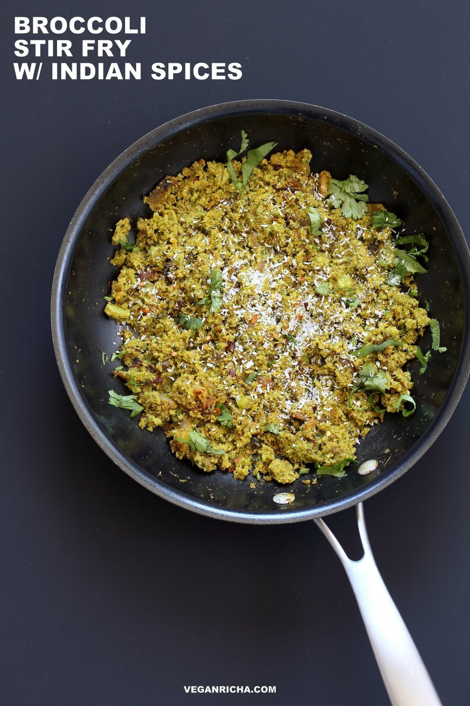 Broccoli Stir fry with Indian Spices - Broccoli Sabji with mustard seeds, coriander, fenugreek, turmeric and cinnamon. 1 pot, 20 mins. #Vegan #Glutenfree #Soyfree #Broccoli #Recipe. Serve as a side, or with dal, or fill up a taco or wrap. | VeganRicha.com
