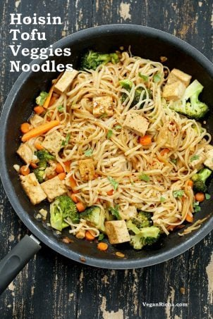 Hoisin Tofu Noodle Stir Fry with veggies #vegan #veganricha
