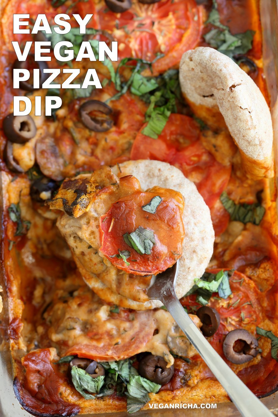 Vegan Pizza Dip. Easy Pizza Dip with sauteed mushrooms, olives, pizza sauce and from scratch Vegan Cashew Mozzarella cream sauce. #Vegan #VeganRicha #Glutenfree #Recipe. Can be #soyfree | VeganRicha.com