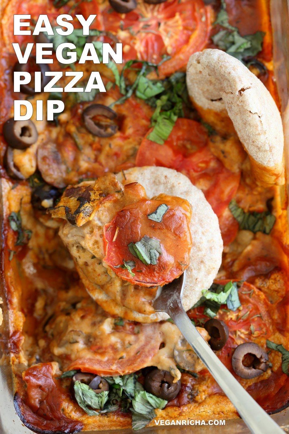 vegan pizza dip with vegan mozzarella cream herbed mushrooms