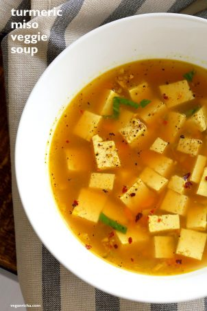 Turmeric Miso Soup With Ginger, Garlic and Tofu
