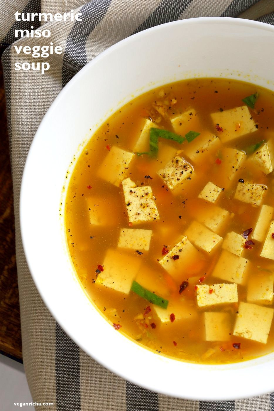 Vegan Dinner Party Ideas Part - 35: Turmeric Miso Soup With Ginger, Garlic And Tofu