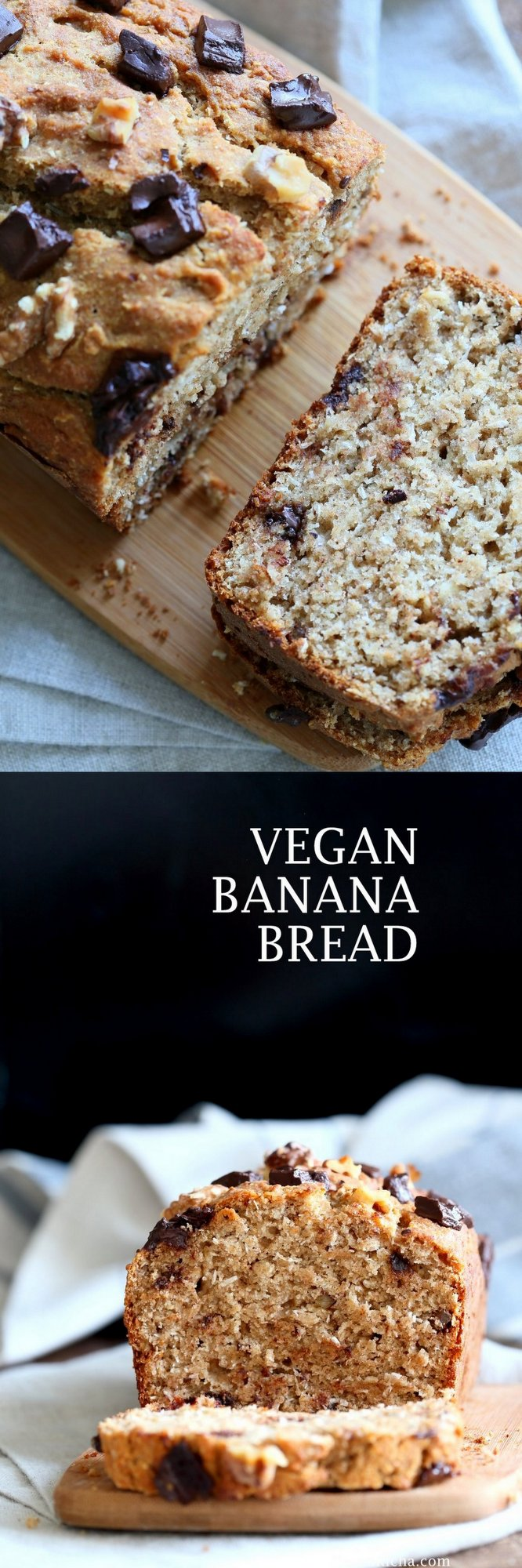 Vegan Banana Bread with Walnuts. Classic super moist Banana bread with toasted nuts and coconut. No Palm oil. #Vegan #Recipe #veganricha | VeganRicha.com.