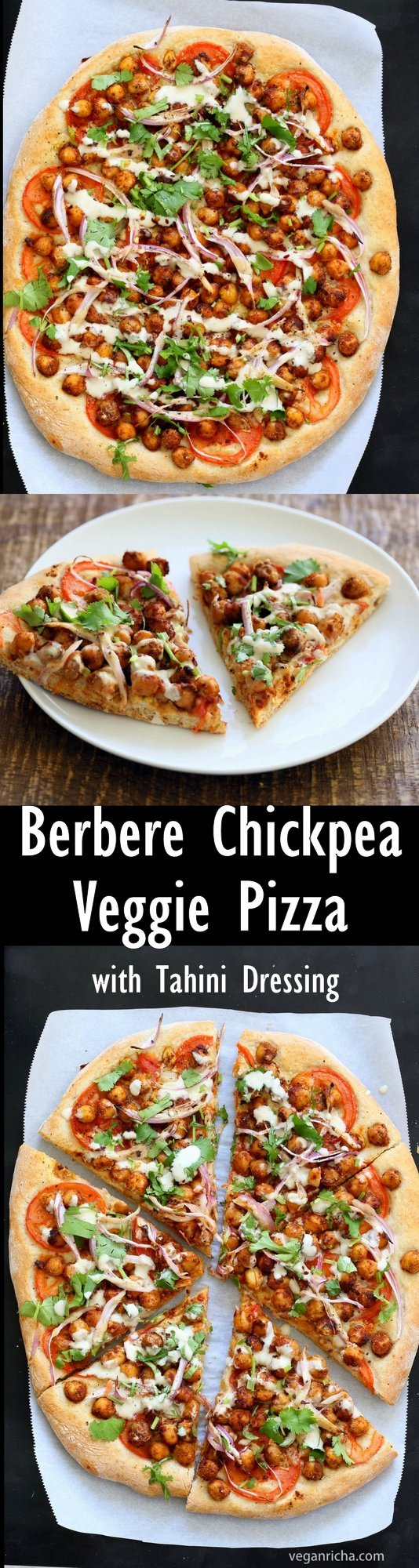Ethiopian Berbere Chickpea Pizza with Tahini Garlic Dressing. Amazingly flavorful pizza. Dress with tahini dressing, vegan ranch or other creamy dressing. #Vegan #Soyfree #Nutfree #Recipe. #Glutenfree Crust option #veganricha | VeganRicha.com
