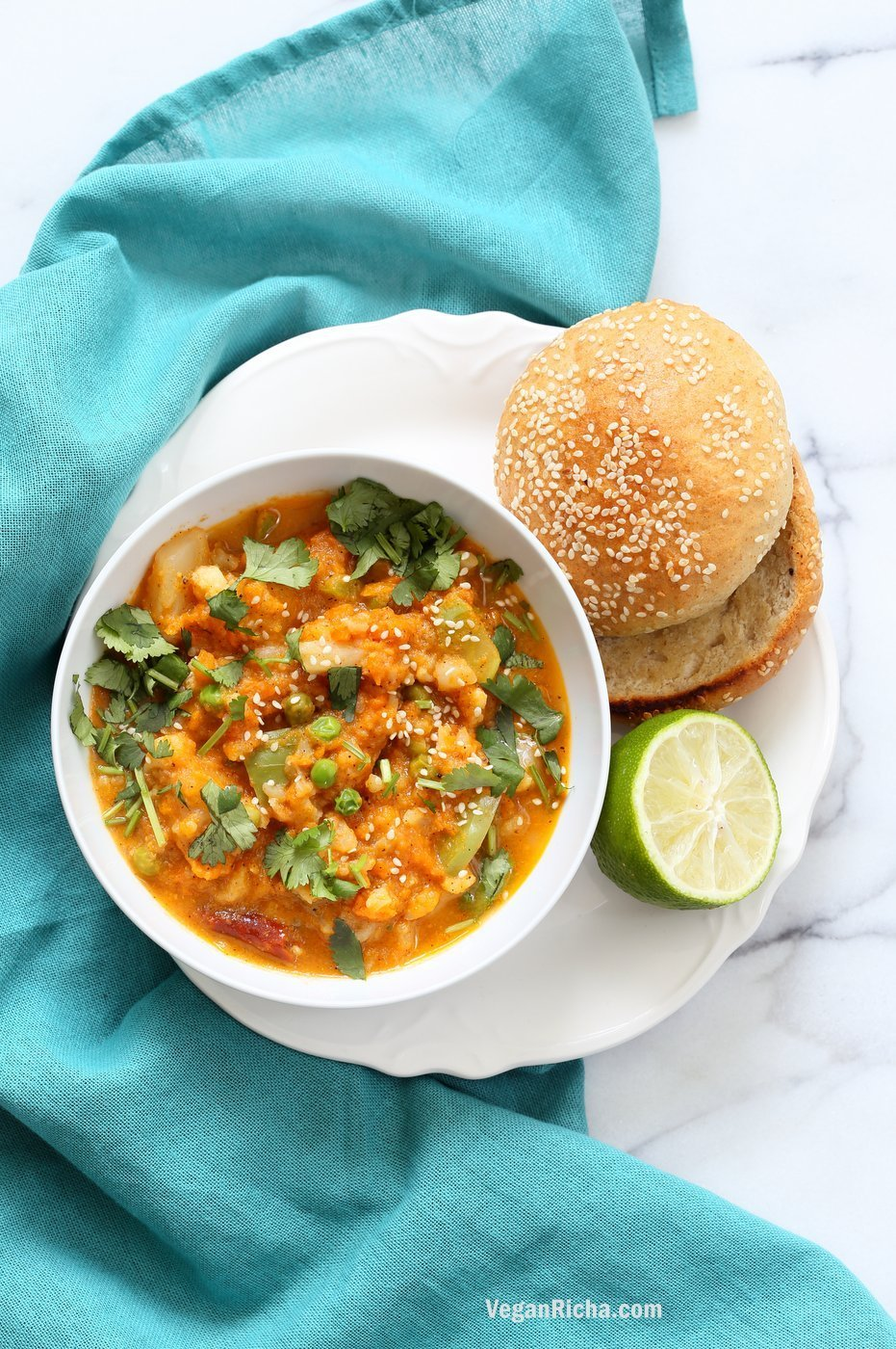 Veg Kolhapuri Recipe - Veggies in Sesame Coconut Tomato Kolhapuri Sauce. Use up the leftover veggies in this flavorful sauce. Anything goes. Add cooked beans for added protein. #Vegan #Glutenfree #Soyfree #Nutfree #veganricha #Recipe. | VeganRicha.com