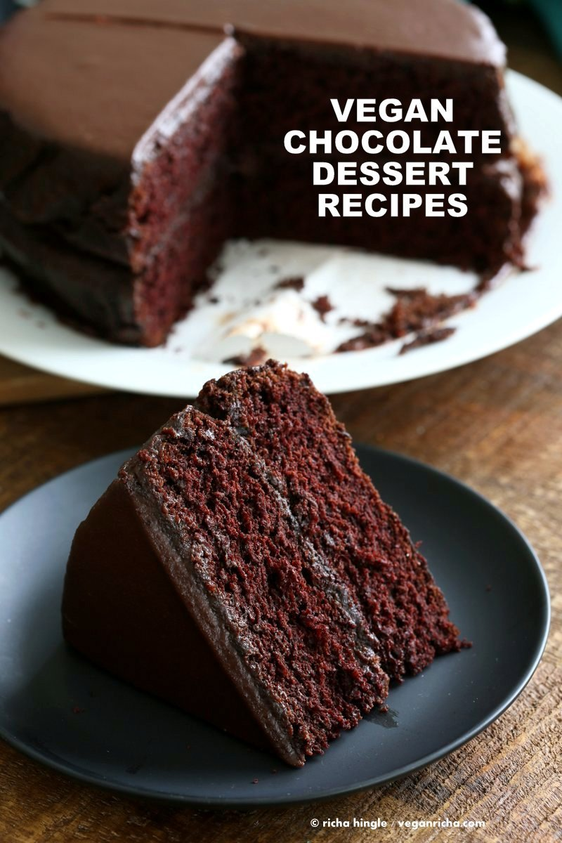 Vegan Chocolate Dessert Recipes. Easy Chocolate Cake, Brownies, Chocolate Chip Cookies, Chocolate Mousse, Chia Chocolate Shake, Marble Chocolate Cake, Chocolate Silk Pie and More. Vegan Chocolate Recipes for Valentines Day #vegan #veganricha #valentinesday | VeganRicha.com