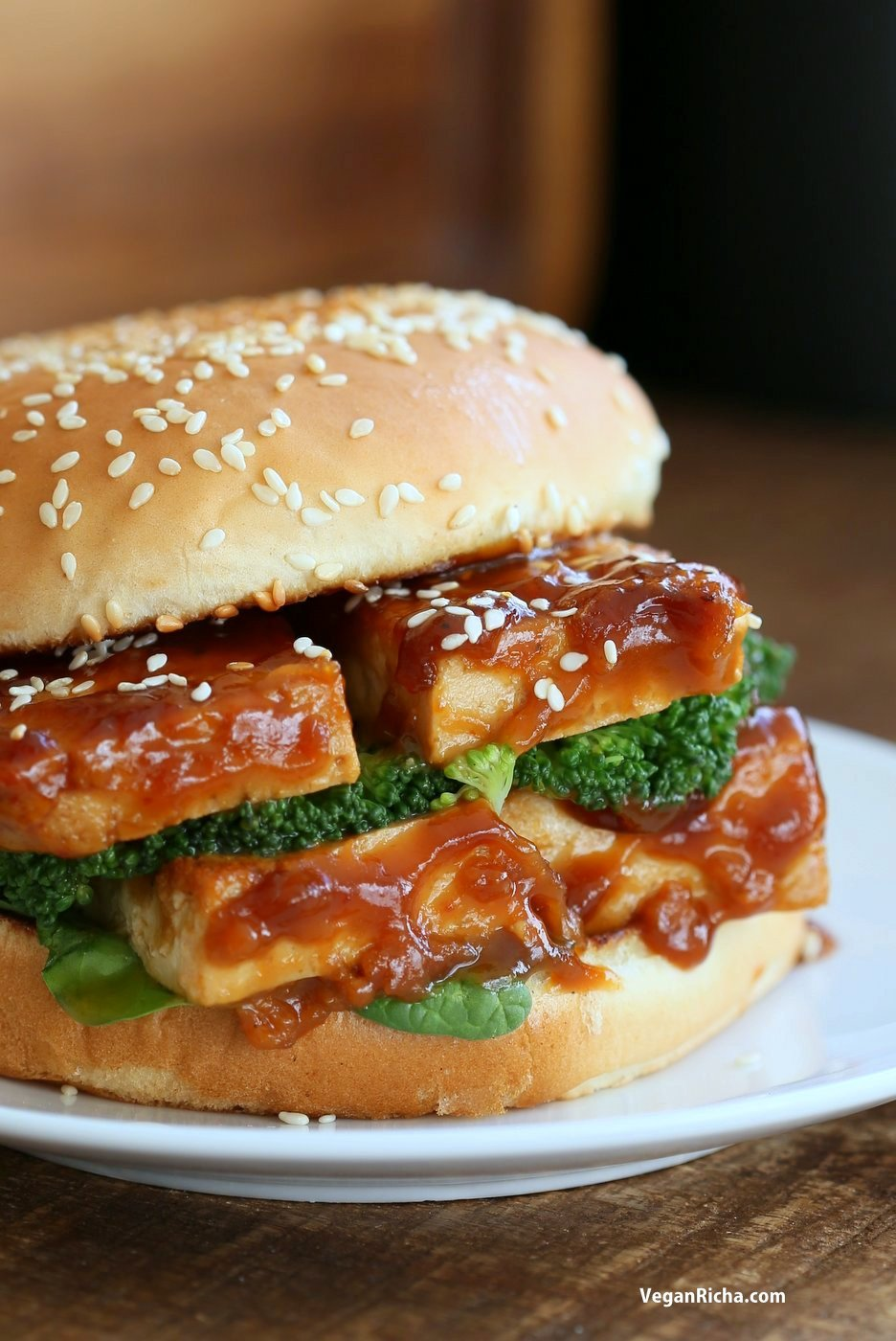 General Tso's Tofu Sandwich. Vegan General Tso Sauce Recipe. Bake the tofu or pan fry, add blanched veggies and make a sandwich or wrap. Vegan Nut-free Recipe. can be gluten-free with gf buns or wrap.   VeganRicha.com