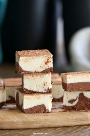 Tiramisu Fudge Bars with creamy cashew vegan mascarpone layered with cocoa coffee cream. These freezer fudge bars are easy and dreamy. Vegan Gluten-free Soy-free Recipe | VeganRicha.com