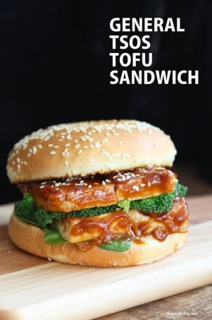 General Tso's Tofu Sandwich. Vegan General Tso Sauce Recipe. Bake the tofu or pan fry, add blanched veggies and make a sandwich or wrap. Vegan Nut-free Recipe. can be gluten-free with gf buns or wrap. | VeganRicha.com