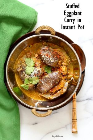 Instant Pot Masala Eggplant Curry. Pressure cooked Indian Baghare baingan. Stuffed Baby Eggplant Curry. #Vegan #Glutenfree #Soyfree #Recipe #veganricha | VeganRicha.com