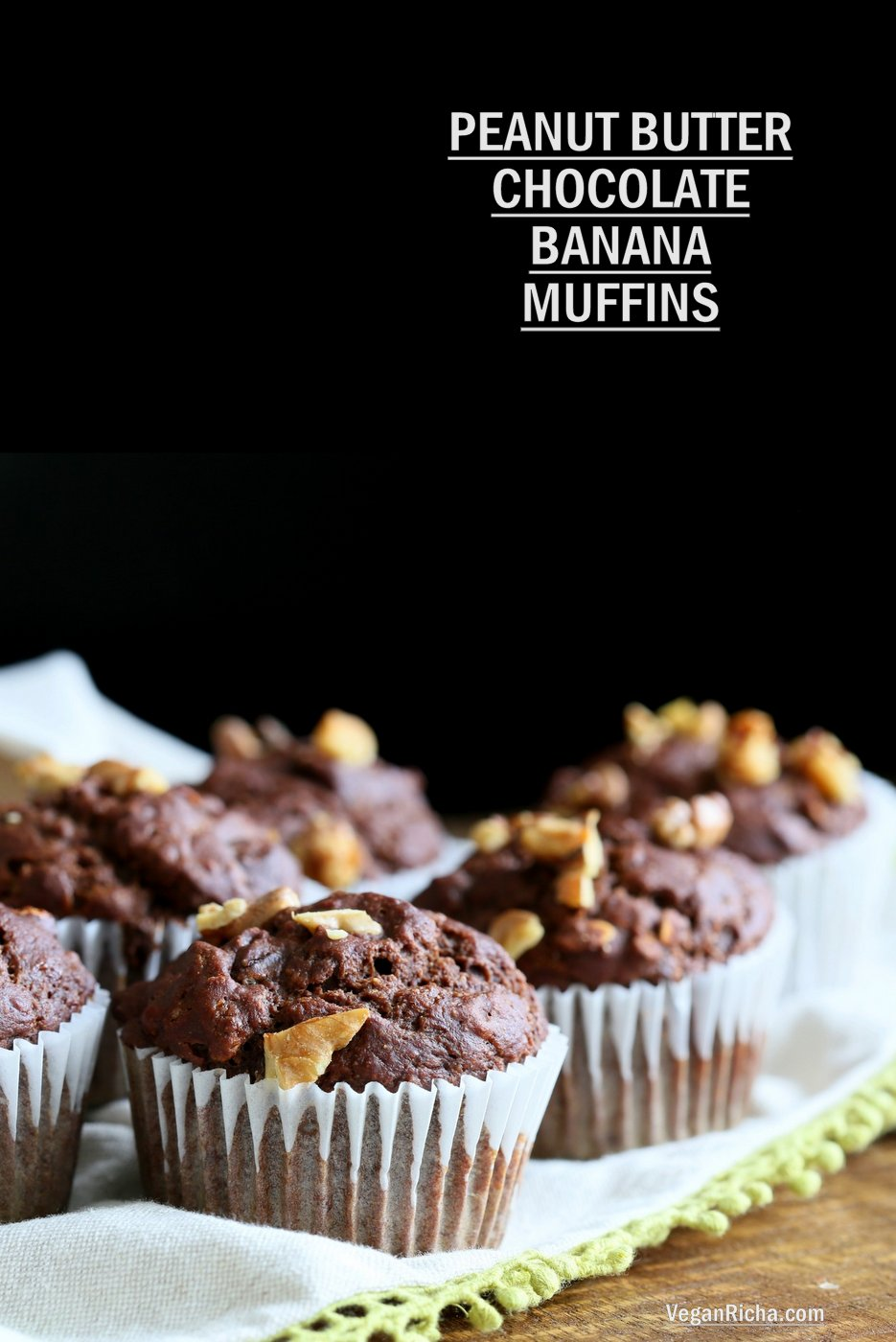 Peanut Butter Chocolate Banana Muffins 1 Bowl / Blender. No Added oil in these tall muffins. Easy 1 Bowl Chocolate Banana Muffins. Vegan Soy-free Recipe. Gluten-free option | VeganRicha.com