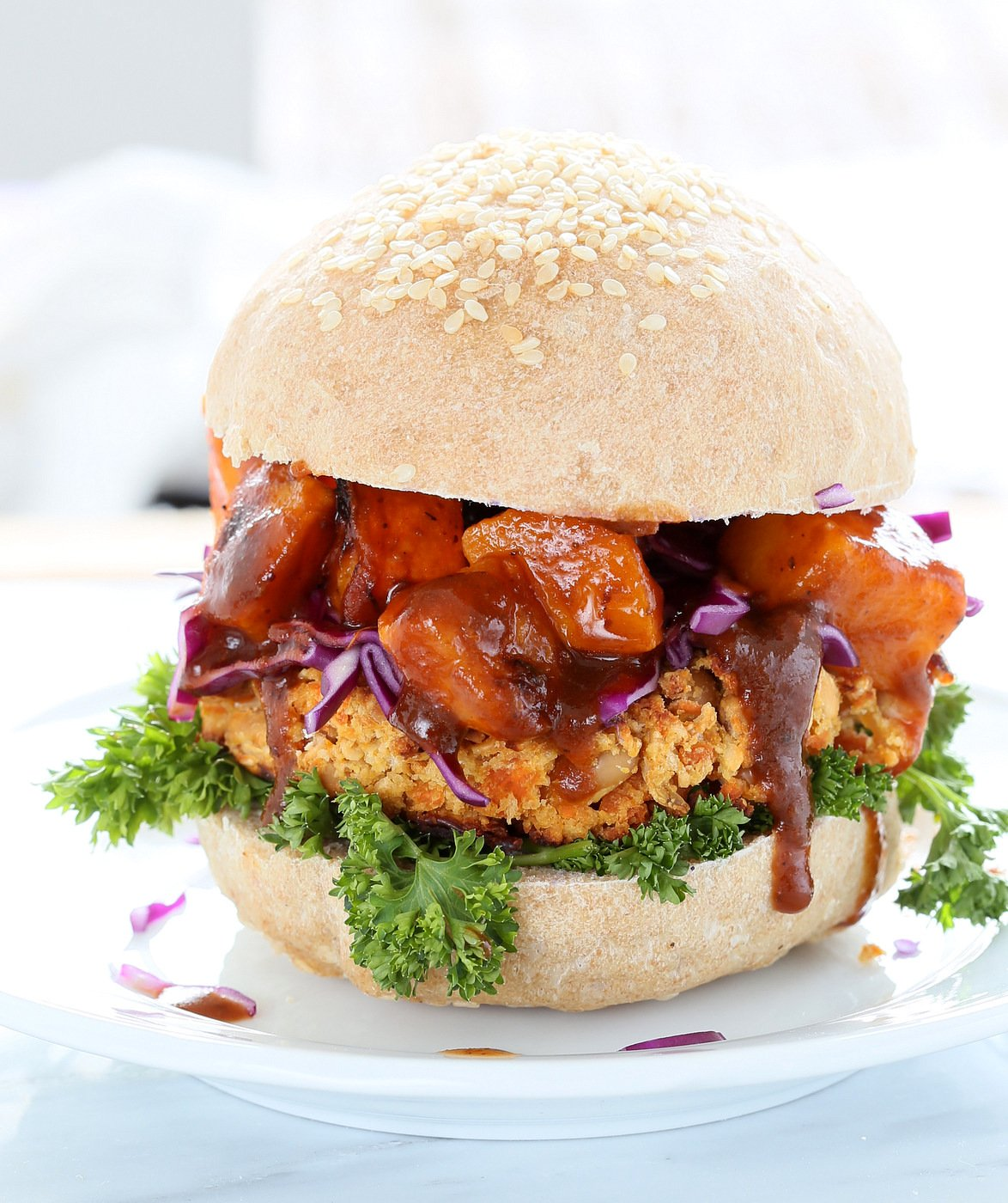 White Bean Burgers with Carrots, Peanuts and thai flavors. Topped with sweet and sour Butternut squash. Asian Peanut Bean Burgers. Vegan Gluten free Option | VeganRicha.com