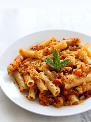 25 Minute Weeknight Pasta. Ziti with Chipotle Lentil Tomato Sauce. Smoky Chipotle and lentils in the pasta sauce make it a flavorful and filling meal. Vegan Soyfree Recipe. Easily glutenfree with GF pasta. | VeganRicha.com